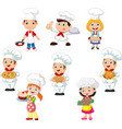 collection children cook chef vector image vector image