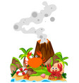crabs and volcano on island vector image vector image