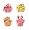cupcake Set of 4 hand drawn vector image vector image