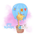 cute cartoon giraffe in a balloon with flowers vector image