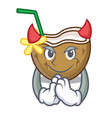 devil cocktail coconut mascot cartoon vector image vector image