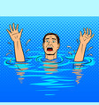 drowning man pop art style vector image vector image