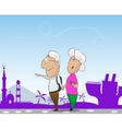 Elderly couple travel in cruise together vector image