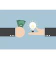 Exchange light bulb idea and money vector image vector image