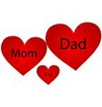Family of three hearts vector image vector image