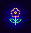 flower plant neon sign vector image vector image