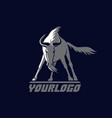 front wildebeest logo sign on dark vector image vector image