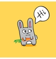 funny cartoon bunny with carrot vector image