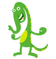 green fantasy cartoon monster character vector image vector image