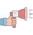 hand holding bullhorn vector image
