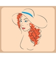 Handdrawn woman wearing wavy red hair and hat vector image vector image
