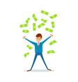 happy businessman making cash rain of money vector image
