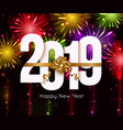 happy new year 2019 background with bright vector image