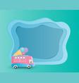 ice cream van on green paper cut background vector image vector image