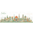india city skyline with color buildings delhi vector image vector image