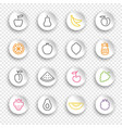 linear icons fruits and berries on white vector image vector image