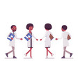 male and female black scientist walking vector image
