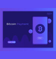 mobile bitcoin payment concept vector image