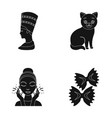 nefertiti cat and other web icon in black style vector image vector image