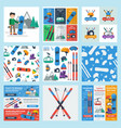 nine square banners of winter and sport activity vector image