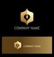 pen write abstract gold logo vector image