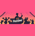people silhouettes celebrating beer festival vector image vector image