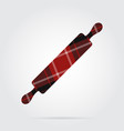 red black tartan isolated icon - rolling pin vector image vector image