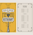 restaurant menu with price list and realistic fork vector image