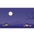 Scenery Halloween pumpkins and moon vector image vector image