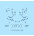 Seafood icon with crab and bubbles vector image vector image