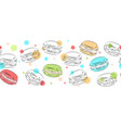 seamless border of delicate contour macaroons vector image vector image