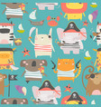 seamless pattern with cute animals with pirate vector image