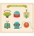 Set of cute retro vintage robots heads vector image