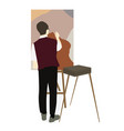 silhouette drawing artist on an easel vector image vector image