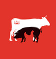 silhouette of farm animals bbq time vector image