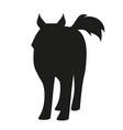 silhouette sled husky dog polar race vector image