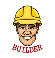 Smiling builder man in hard hat vector image