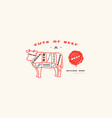 stock beef cuts diagram in thin line style vector image vector image