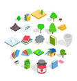 timber icons set isometric style vector image vector image