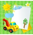 Toy construction machine paper postcard template vector image vector image