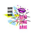 tshirt pop art neon colors lips splash design vector image