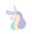 unicorn with rainbow horn vector image vector image