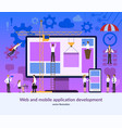 web and mobile application development teamwork vector image