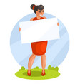 woman holding blank banner vector image