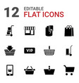 12 shopping icons vector image vector image