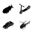 a dirigible a children s scooter a taxi a vector image vector image