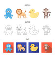 an unrealistic cartoonoutlineflat animal icons vector image vector image