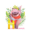 animal abc letter h is for hilarious hippopotamus vector image