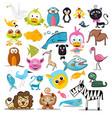animals set animal collection isolated on white vector image vector image