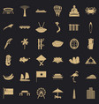 asian landmark icons set simple style vector image vector image